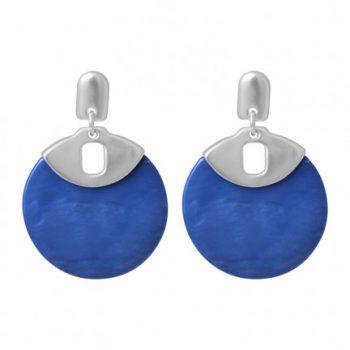Biba oorbellen zilverkleurige met blauwe cirkel
