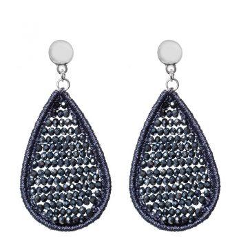 Biba druppel oorbellen met crystal kraaltjes blauw