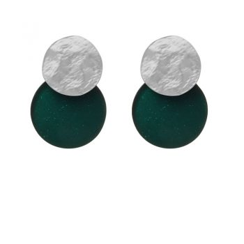 Biba disk oorbellen d.groen glitter
