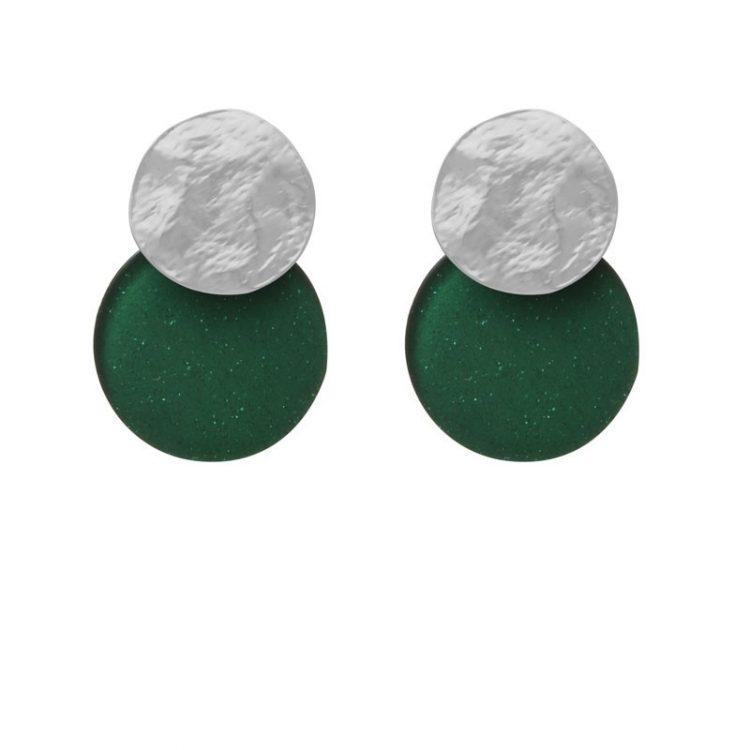 Biba disk oorbellen groen