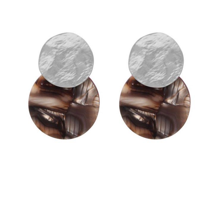 Biba disk oorbellen bruin marmerprint