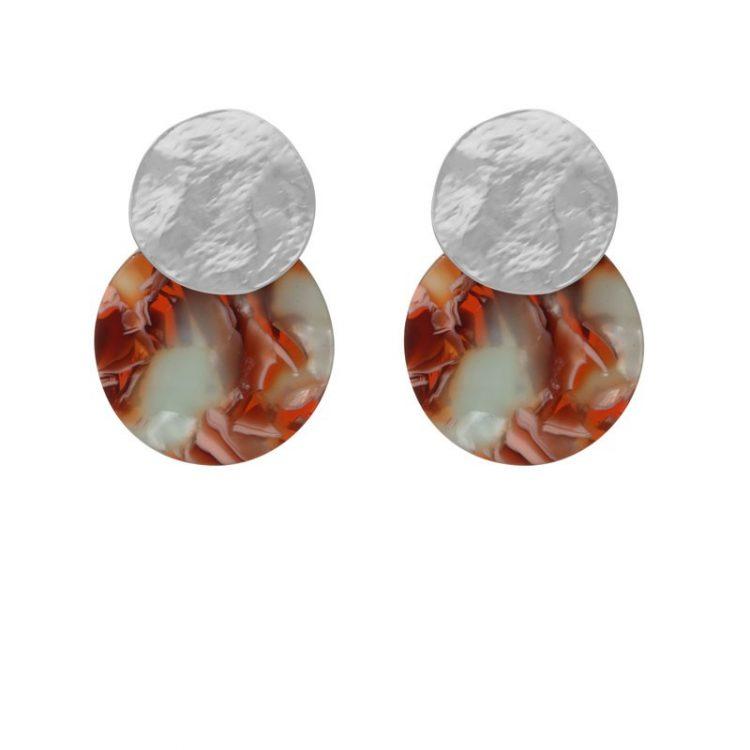 Biba disk oorbellen bruin-grijs