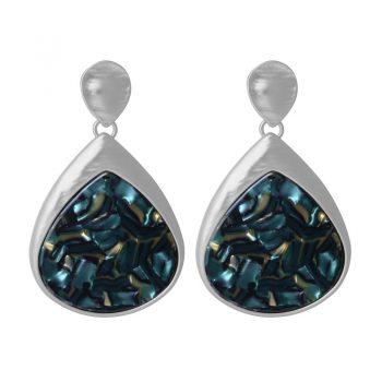 Biba oorbellen hanger met gemarmerde inleg - blauw