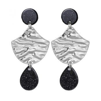 Biba oorhangers met zilverkleurig - zwarte glitter