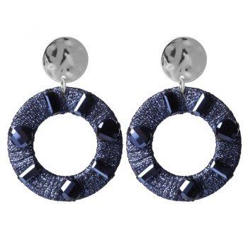 Biba oorbellen rond hanger met crystal kraal - blauw