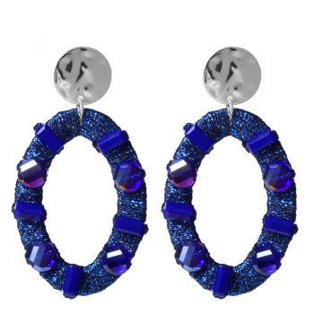 Biba oorbellen ovale hanger met crystal kraal - blauw