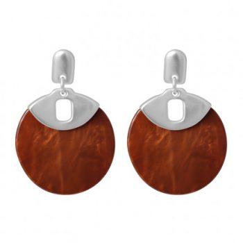 Biba oorbellen zilverkleurige met bruin-oranje cirkel