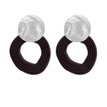 Biba oorbellen zilverkleurige golvende hanger bruin