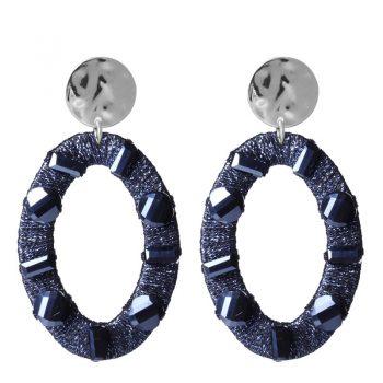 Biba oorbellen ovale hanger met crystal kraal - grijs