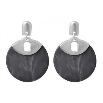 Biba oorbellen zilverkleurige met grijs cirkel