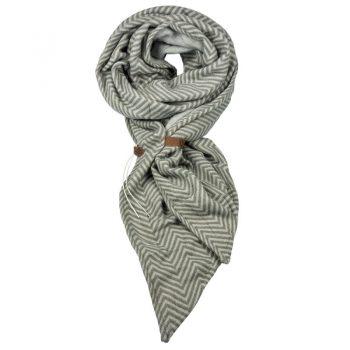 Grijze visgraat sjaal Lot83 met riempje