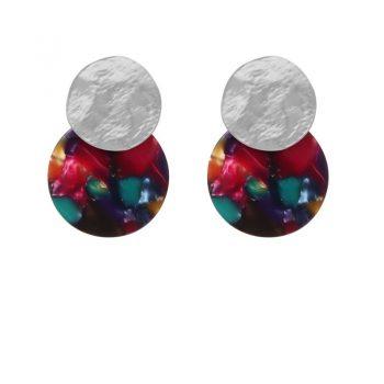 Biba disk oorbellen mixed color