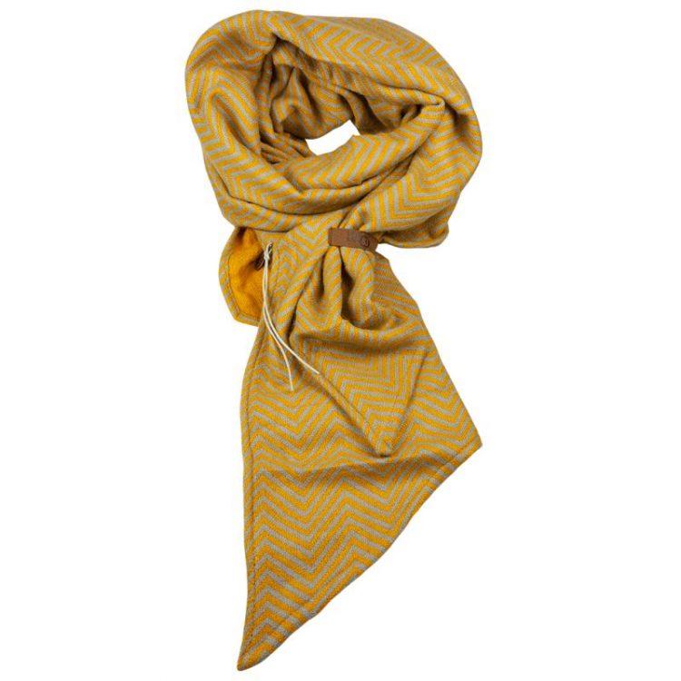Oker geel visgraat lange sjaal met riempje