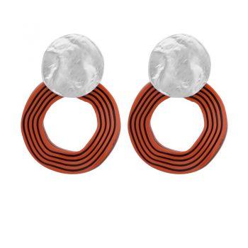 Biba oorbellen zilverkleurige golvende hanger oranje