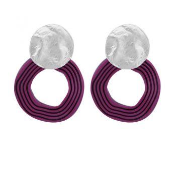 Biba oorbellen zilverkleurige golvende hanger paars