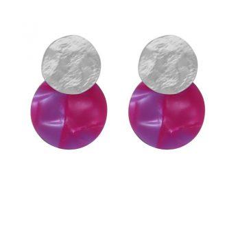 Biba disk oorbellen roze-paars