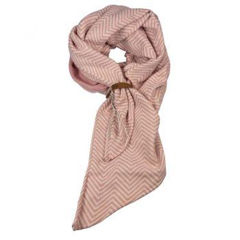 Roze visgraat lange sjaal met riempje