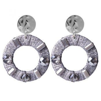 Biba oorbellen rond hanger met crystal kraal - grijs