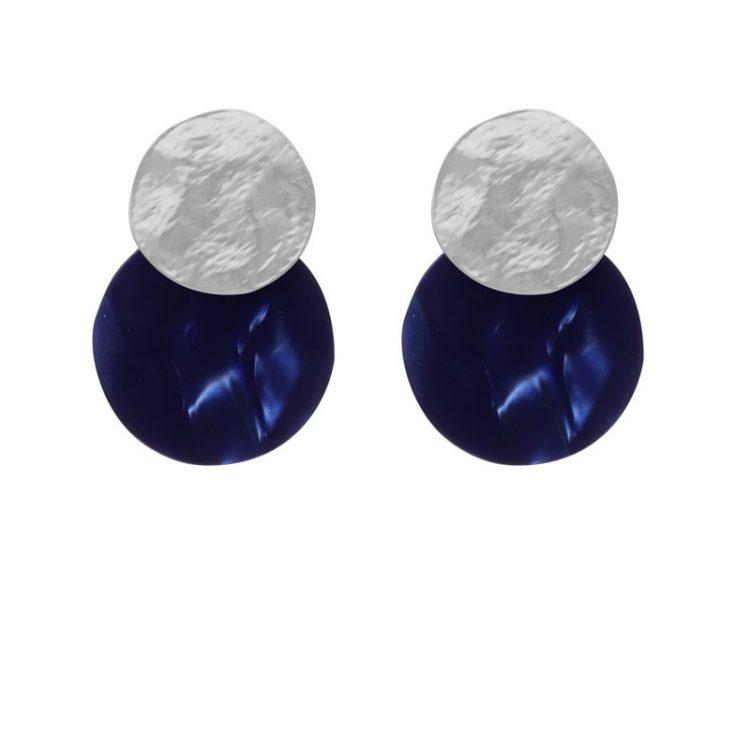 Biba disk oorbellen donker blauw
