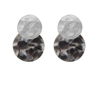 Biba disk oorbellen grijs marmerprint