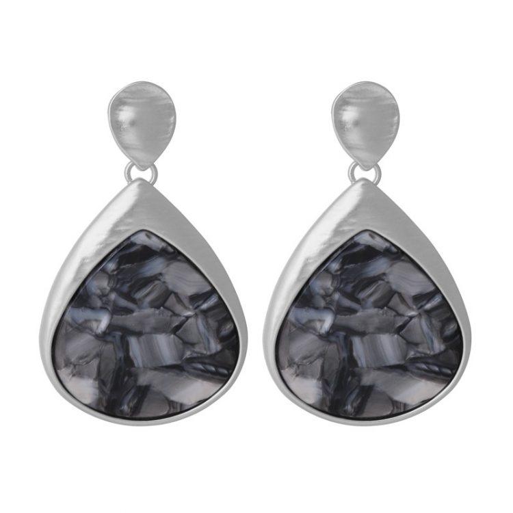 Biba oorbellen hanger met gemarmerde inleg - donker grijs