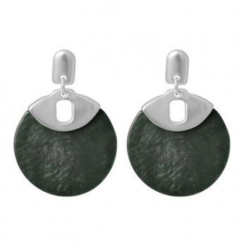 Biba oorbellen zilverkleurige met grijs-groen cirkel
