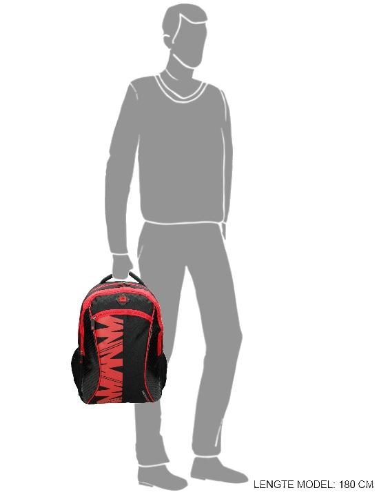 Enrico Benetti rugtas - laptop rugtas zwart rood formaat weergave