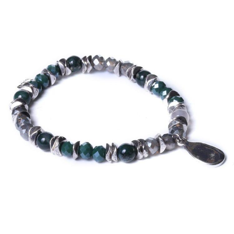Biba kralen armband groen-zilverkleurige druppel bedel