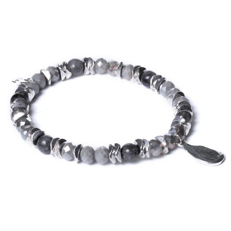 Biba kralen armband grijs-zilverkleurige druppel bedel