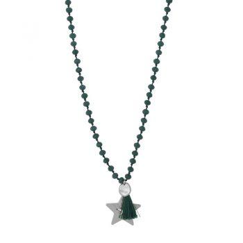 Biba groene lange ketting crystal kralen-ster hanger en kwast