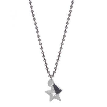 Biba grijze lange ketting crystal kralen-ster hanger en kwast