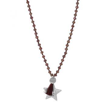 Biba bruine lange ketting crystal kralen-ster hanger en kwast