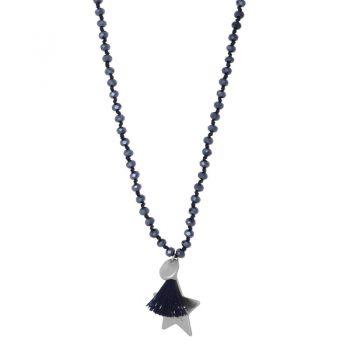 Biba blauwe lange ketting crystal kralen-ster hanger en kwast