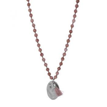 Biba bruine lange ketting natuursteen-ovale en ster hanger