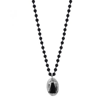 Biba zwarte lange ketting natuursteen-ovale en ster hanger