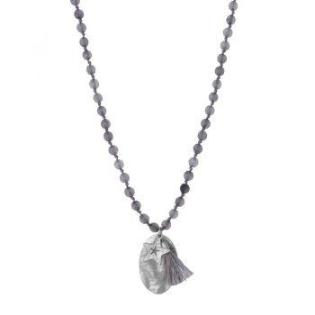 Biba grijze lange ketting natuursteen-ovale en ster hanger