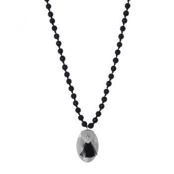 Zwarte lange ketting natuursteen kralen zilverkleurige hanger