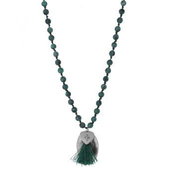 Biba groene lange ketting met natuursteen kralen-hanger