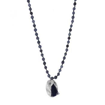 Biba blauwe lange ketting met natuursteen kralen-hanger