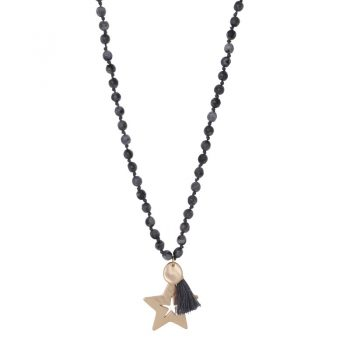 Biba grijze lange ketting met natuursteen kralen-ster hanger