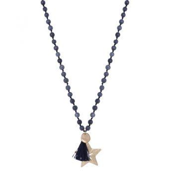 Biba blauwe lange ketting met natuursteen kralen-ster hanger