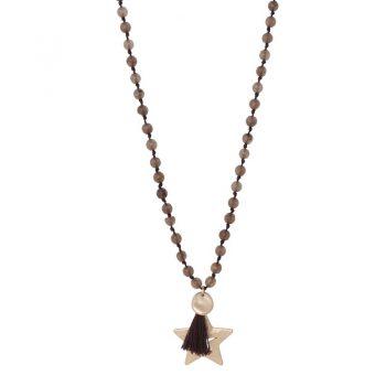 Biba bruine lange ketting met natuursteen kralen-ster hanger