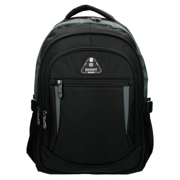 Enrico Benetti rugtas zwart - grijs laptop 15 inch rugtas