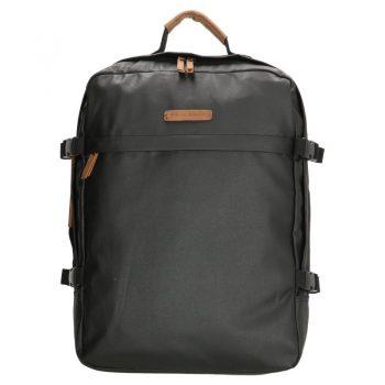 Stoere zwarte canvas rugtas met laptopvak 17 inch