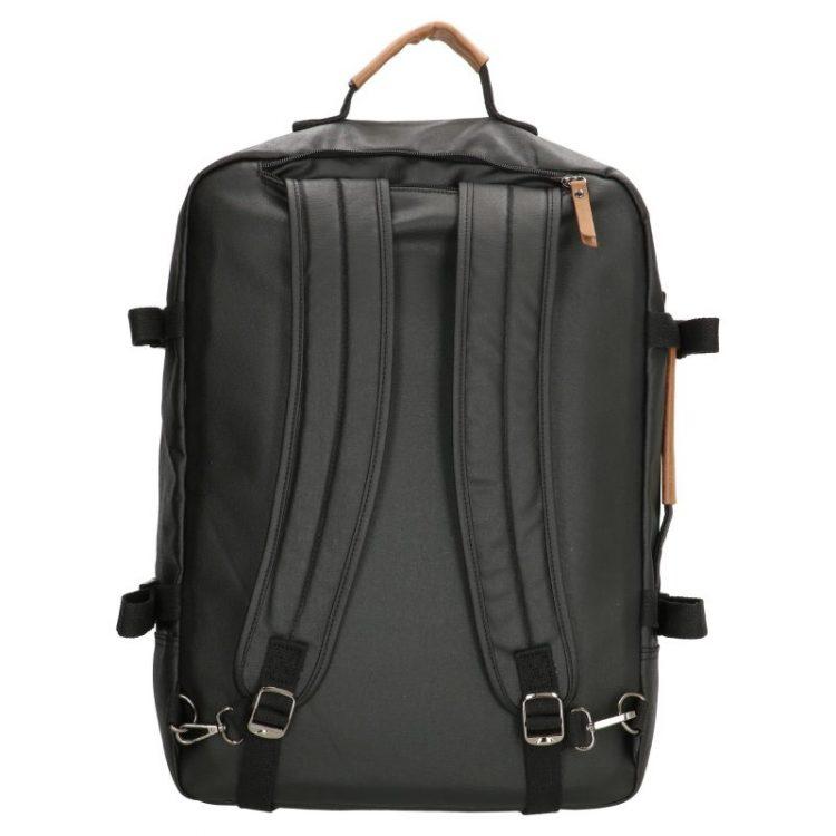 Stoere zwarte canvas rugtas met laptopvak 17 inch achterkant