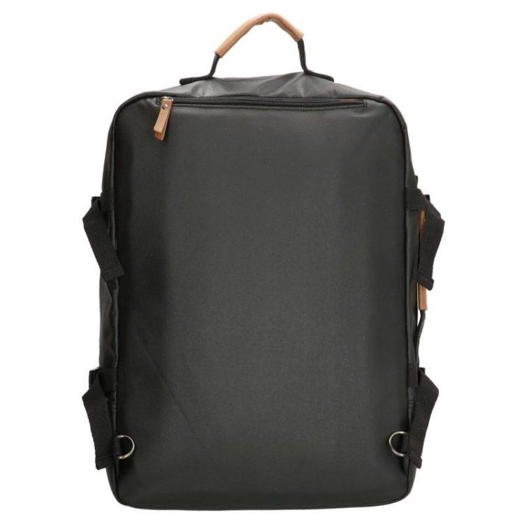 Stoere zwarte canvas rugtas met laptopvak 17 inch achter
