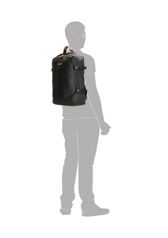 Stoere zwarte canvas rugtas met laptopvak 17 inch silhouette