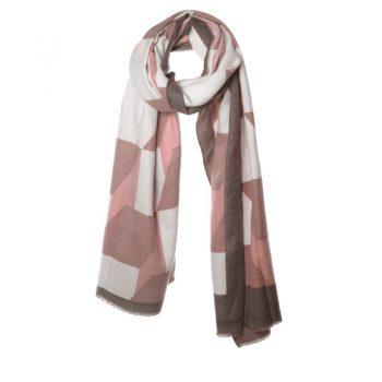 Biba sjaal in bruin tinten met blokken en driehoeken