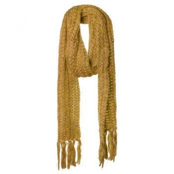 Biba oker gele sjaal gebreid lang en smal