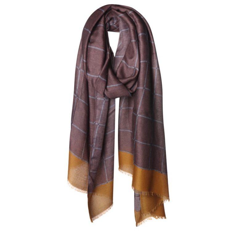 Lange brede geruite sjaal in bruintinten -Biba